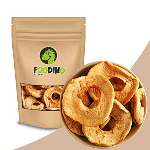 Apfelringe getrocknet naturbelassen ungezuckert ungeschwefelt Apfel Ringe ohne Zucker ganz getrocknete Äpfel Trockenfrüchte ungesüßt 500g - 5kg wiederverschließbar Premium Qualität FOODINO (1kg)
