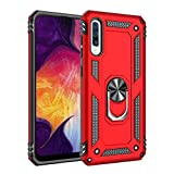 Military Grade Drop Impact for Samsung Galaxy A50 Case 360 Metal Rotating Ring Kickstand Holder Magnetic Car Mount Armor Heavy Duty Shockproof Cover for Galaxy A50 Phone Protection Ca (Red)