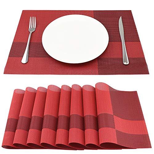 SueH Design Lot de 8 Sets de Table 45 * 30 CM Vinyle Tissé Rouge