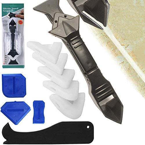 9 piezas de removedor de silicona,rasqueta de silicona para lechada,kit multifuncional de raspador de silicona profesional,agente alisador para quitar sellador de calafateo,para pisos de baño y cocina