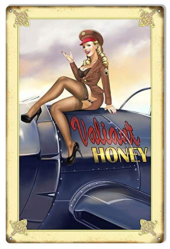 Toll2452 Señal metálica de aviación Valiant Honey Pin Up Girl Aviation Nariz Art grande 040 de aluminio para decoración de aviación