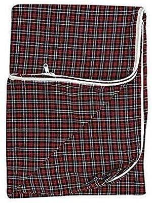 Shri Anand Creation 100% Cotton Multi Checked Mattress Cover 1pc