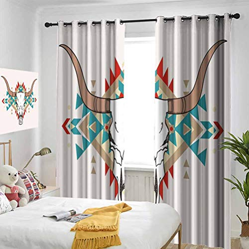 Western Bull Skull Illustration with Ornament Tribal Geometric Aztec Style Warm Taupe Red Blue Bedroom blackout curtains Three-layer braided noise reduction ring top shade curtain W84 x L96 Inch