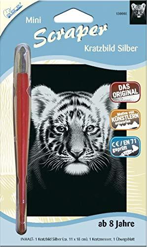 MAMMUT 130008 - Kratzbild, Motiv Tigerbaby, silber, glänzend, mini, Komplettset mit Kratzmesser und Übungsblatt, Scraper, Scratch, Kritzel, Kratzset für Kinder ab 8 Jahre