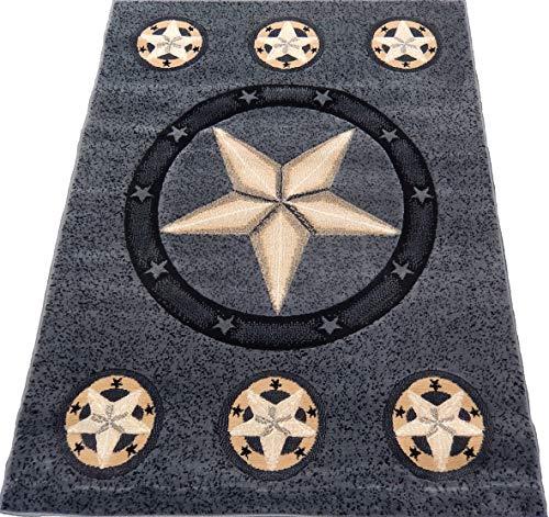 KJGRUG Texas Star Cowboy Western 4x6 Area Rug Gray Black Carpet Actual Size 3'9 x 5'1