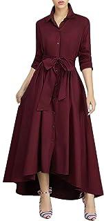 VERWIN Women Long Sleeve Loose Elegant Maxi Dress Button Down Up Shirt Long Dress with Pockets and Belts