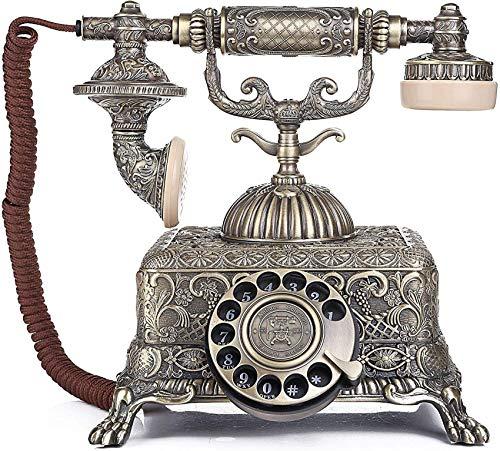 Teléfono Retro con dial Giratorio Teléfono Retro Antiguo Línea Fija Hogar Vintage con Altavoz Teléfono Giratorio de Metal Oficina en casa Creativa Hotel Teléfono Retro Decoración Teléfono Retro