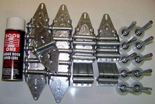 Building & Hardware Garage Door Roller Wheel & Hinge KIT - Two car Door 7' TALL DOORS