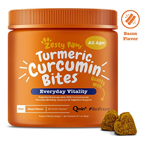 Turmeric Curcumin with BioPerine for Dogs - Grain Free Dog Joint Supplement with Coconut Oil & Black Pepper Extract - Grain Free Soft Chews for Canine Immune System Support - Bacon Flavor - 90 Count