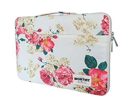 WORTINT Laptop Bag Sleeve Protective Case Cover Water Resistant Shockproof Briefcase Multifunctional Carrying Bag for All Laptops, Notebooks, Ultrabooks, Netbooks. (13.3 Inch Peony)