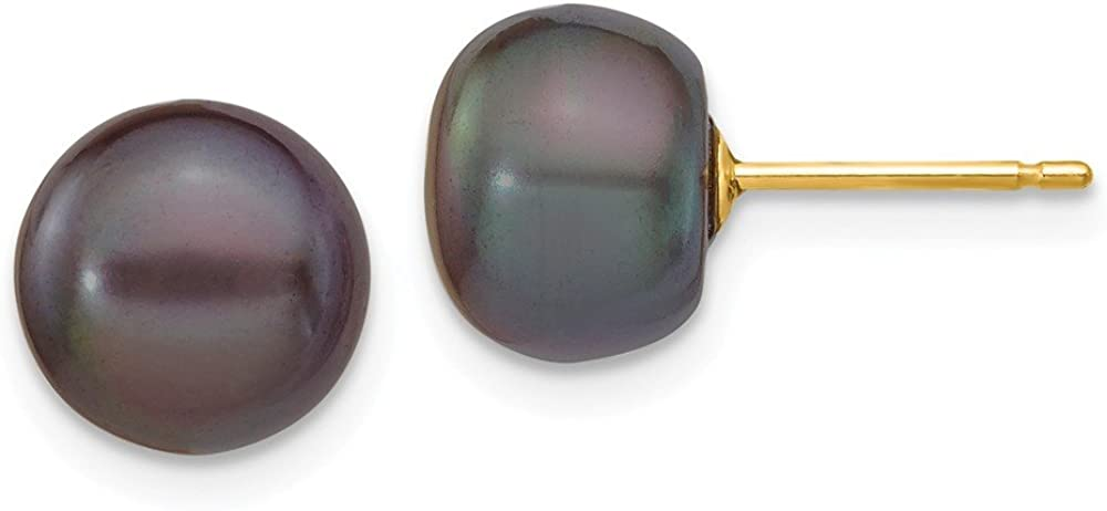 14k Yellow Gold 9mm Black Button Freshwater Cultured Pearl Stud Post Earrings Ball Fine Jewelry For Women Gifts For Her