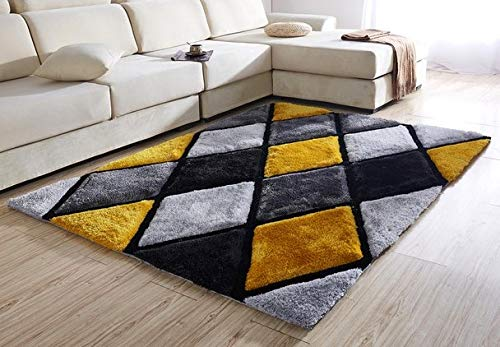NEW MODERN BLACK SILVER GREY YELLOW DIAMONDS THICK HEAVY SILKY SOFT LUXURIOUS SHAGGY LIVING AREA BEDROOM RUG NON SHED SHAGGY PILE (90 x 150 cms)