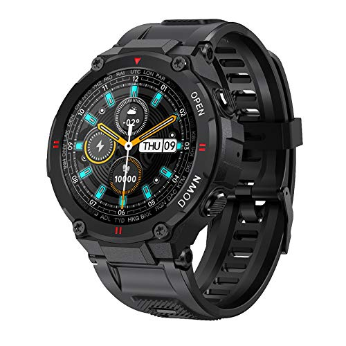 Reloj Inteligente Bluetooth, BlitzWolf IP54 Smartwatch Fitness Tracker Reloj Deportivo Hombres Mujeres con Llamada Bluetooth Monitor de Frecuencia Cardíaca Oxígeno en Sangre para iPhone Android iOS