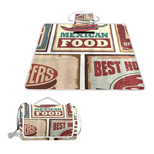 XINGAKA Picknickdecke Blechschilder und Retro mexikanische Lebensmitteldrucke im Alter von Advirtising Logo Style Artistic Design,Outdoor Stranddecke wasserdichte sanddichte tolle