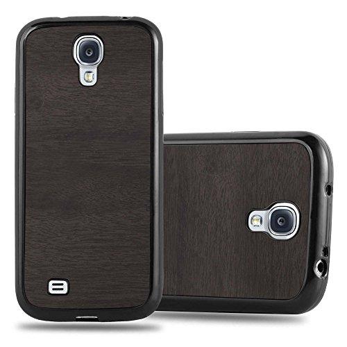 Preisvergleich Produktbild Cadorabo Hülle für Samsung Galaxy S4 - Hülle in Wooden SCHWARZ Handyhülle aus TPU Silikon in Vintage Holz Optik - Silikonhülle Schutzhülle Ultra Slim Soft Back Cover Case Bumper