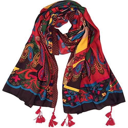hkwshop Bufandas Chal Bufanda de Las Mujeres de Gran tamaño de Moda Largo otoño e Invierno Mantón Grande de la impresión Floral Bufanda Caliente Suave Manta Moda Bufandas
