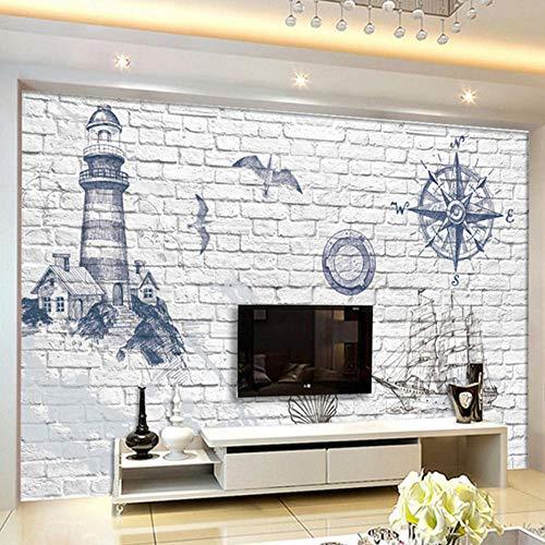 papel pintado pared dormitorio mural pared xxl pegatinas 3d faro náutico barco mediterráneoretro fotomural decorativos pared
