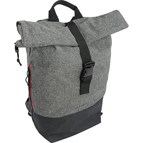FORVERT Unisex New Lorenz robuster Daypack im ausgefallenen Design mit Wickelverschluss und spannendem Materialmix, grau (Flannel Grey)