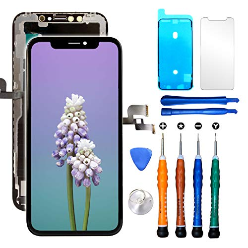 Ace Tech Compatible with iPhone X LCD Screen Replacement 5.8 Inch (Model A1865 A1901 A1902) Touch Screen Display digitizer Repair kit Assembly with Complete Repair Tools and Screen Protector