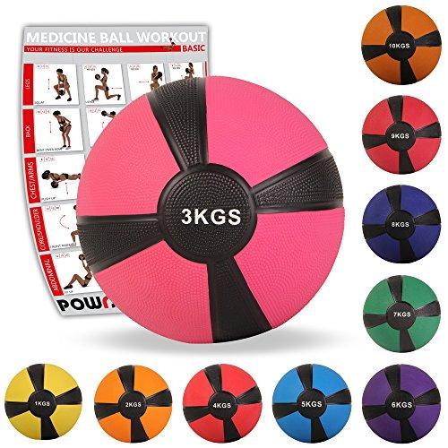 POWRX Medizinball Gewichtsball 1-10 kg | versch. Farben (3 kg/Pink)