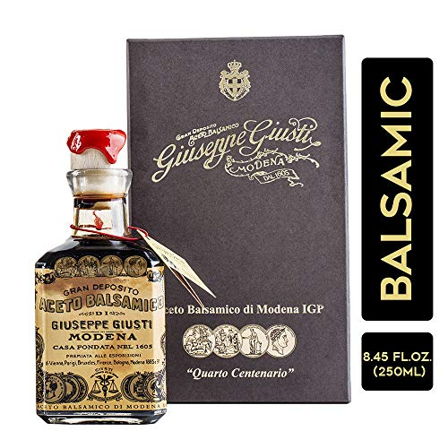 "Giuseppe Giusti 4 Gold Medals ""Quarto Centenario"" Cubica Traditional Balsamic Vinegar of Modena IGP Aged Over 15 Years Old – 250ml – Includes Collector's Gift Box"