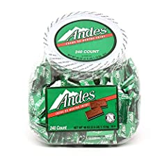 Rectangular three-layered candy' green mint sandwiched between two thin cocoa-based layers 1 Tub of 240 Andes Crème de Menthe Thin Mints Individually foil-wrapped, bite-sized pieces Perfect for everyday snacking or a great way to end a wonderful meal...