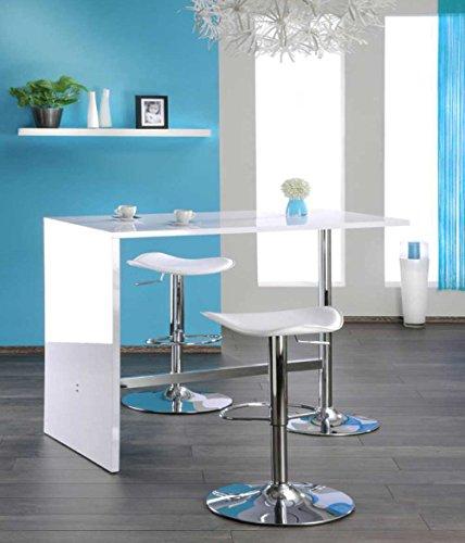 lifestyle4living Bartisch in Weiß Hochglanz | Stehtisch für die Küche mit verchromtem Gestell | Hoher Tresentisch 120 cm breit