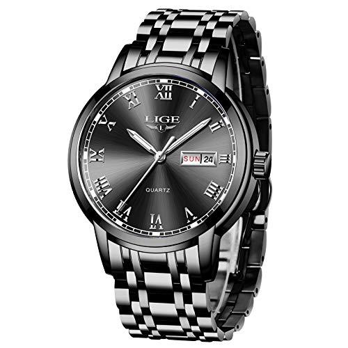 LIGE Herren Uhr Wasserdicht Edelstahl Analog-Quarz Uhr-männer Business Date Armbanduhr (Silber schwarz)
