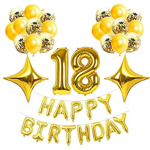 Dusenly Kit de decoración de Globos Dorados,  Oro de 18 años Banner de Feliz cumpleaños Globo de Aluminio Globo de látex Confeti Suministros para Fiestas de 18 años