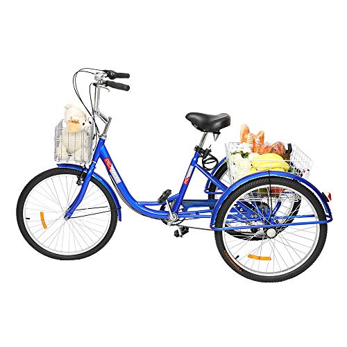 """PEXMOR Adult Tricycle 7 Speed 24"""" Wheels Trike Cruise Bike, Three-Wheeled Bicycle with Front and Rear Basket Adjustable Height Seat for Recreation, Shopping, Picnic, Exercise Men's Women's Bike, Blue"""