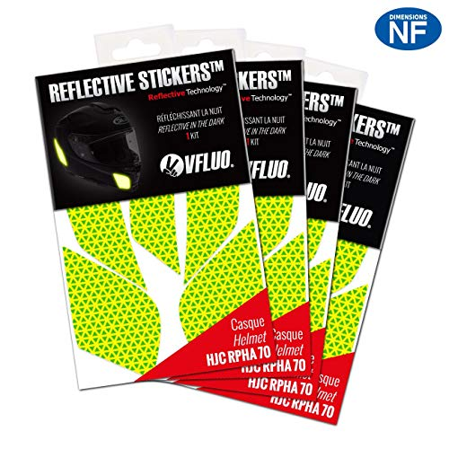 VFLUO RPHA70™, (Set of 4) retro reflective 4 stickers kit made for HJC RPHA70™ and adaptable to all helmets, 3M Technology™, Fluo Yellow