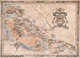 One Treasure Limited Antique Vintage Old World Caribbean Bahamas Islands Map