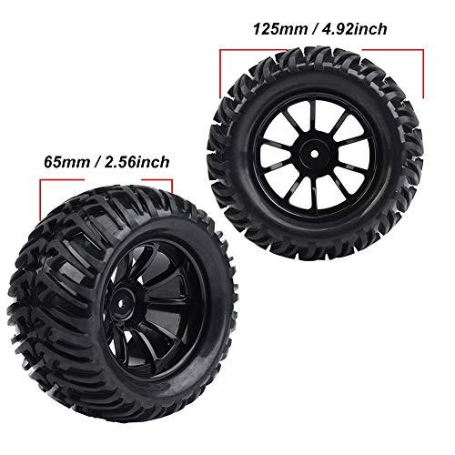 Dilwe RC Auto Reifen, 4 Stück Y-förmigen Muster Reifen Gummireifen mit Naben für 1/10 Skala RC LKW Auto(10 Löcher)