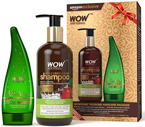Glamorous Hub WOW Apple Cider Vinegar Shampoo 300ml with 99% Pure Aloe Vera Gel 130ml (Packing May Vary)