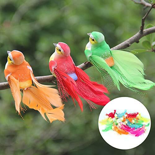 Nannday Figuras Decorativas de pájaros, 12 Piezas de pájaro Artificial de simulación de decoración de pájaros con Clip de Adorno de decoración para el jardín de su casa
