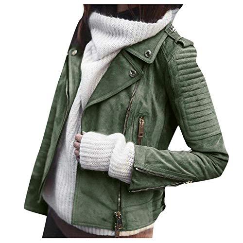 VJGOAL Chaqueta de Mujer Moda Casual Color sólido Cremalleras de Cuero Vintage Cinturón Solapa Delgada Manga Larga Chaqueta de Moto Corta Talla Grande Abrigo
