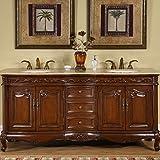 "Silkroad Exclusive HYP-8034-T-UIC-72 Travertine Stone Top Double Sink Bathroom Vanity with Bath Cabinet, 72"", Medium Wood"