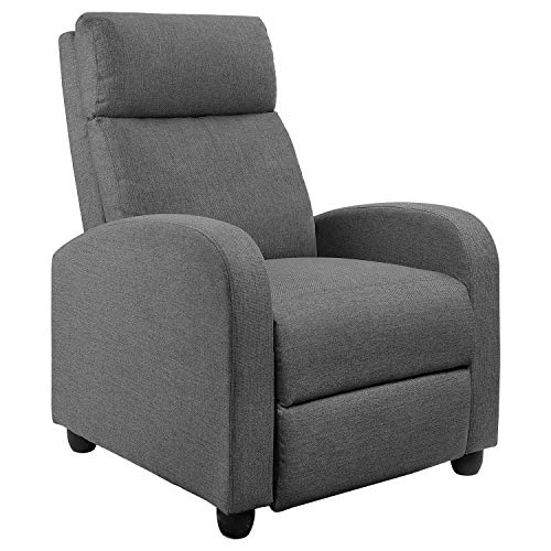 JUMMICO Fabric Recliner Chair Adjustable Home Theater Single Recliner Sofa Furniture with Thick Seat Cushion and Backrest Modern Living Room Recliners (Grey)