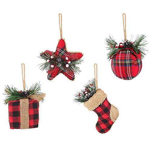 Rustic Christmas Tree Ornaments, Red and Black Buffalo Plaid Christmas Hanging Decorations, Including Stocking, Ball, Star, Gift, 4Pcs Hanging Ornament Set for Xmas Party, EVE and Home Decor