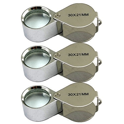 3 Pcs Mini 30X 21mm Jeweler Jeweler's Jewelry Loupe Magnifier Magnifying Glass Silver w/ Box