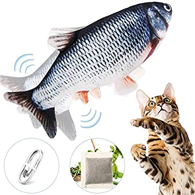 "Floppy Fish Cat Toy - Cat Toys for Indoor Cats, 11"" Interactive Catnip Toys for Cats, Realistic Plush Simulation Moving Fish Cat Toy, Washable, Perfect for Cats Kittens to Bite, Chew and Kick"