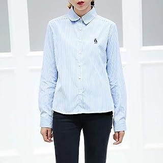 TW 2018秋季新款韩版甜美可爱条纹方领长袖衬衫上衣女