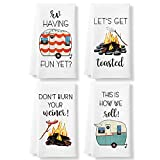 KLL Funny Camping Kitchen Towels and Dishcloths Sets of 4 - Dish Towels for Washing Drying Dishes - Decorative Waffle Towels, Hand Towels- Camping Gift Perfect for RV Decor