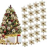 Outgeek Ornamento di Albero di Natale, 24Pcs Glitter Fiore Artificiale Fiori di Albero di Natale Ornamento di Decorazione Fiore Falso di Natale