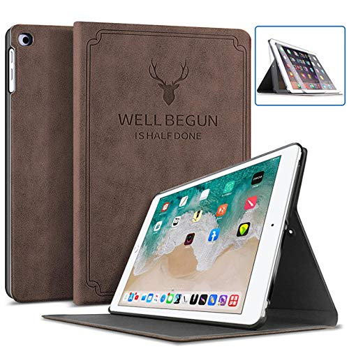 FFDD 2017 2018 9.7 iPad 5/6th Case For iPad Air 3 10.5 iPad Air 2 Leather Cover Mini For 2019 iPad 10.2 7th Generation Smart Case,Coffee,iPad,2019 10.2