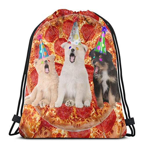 AEMAPE Bolsa con cordón Pizza Dog Cute Hat Mochila Bolsa de Gimnasio Cinch Bag Storage Bages Sport Gym Sack Mochila Multifuncional con cordón