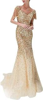 Women's Casual Daily Women Sexy Showback Sexy Deep V Sleeveless Neckless Dress Long Dress (Gold, L)