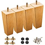 Wood Furniture Legs Set of 4, Couch Legs 6 Inch Mounting Plates, Mid Century Legs for Furniture, Square Wooden Leg Replacement Parts for Sofa Couch Dresser Sideboard Recliner Chair Coffee Table