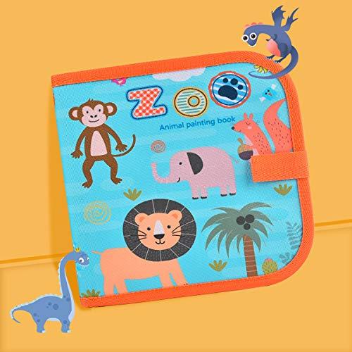 Miavogo Malbuch mit 12 Buntstifte für Kinder, Zeichenbrett abwischbar wiederverwendbar tragbar - 14 Seiten (Tier)