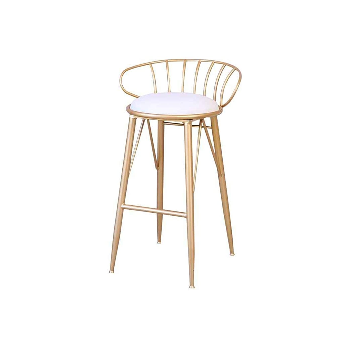 煩わしい蒸ポスターバースツールキッチン朝食背の高い椅子メタルカウンタースツールフロントデスクスツールホーム背もたれフットレストアイロンパブモダン北ヨーロッパ負荷120Kg(色:金色)(座高65cm、75cm)